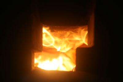 Kiln Fire Under Drum